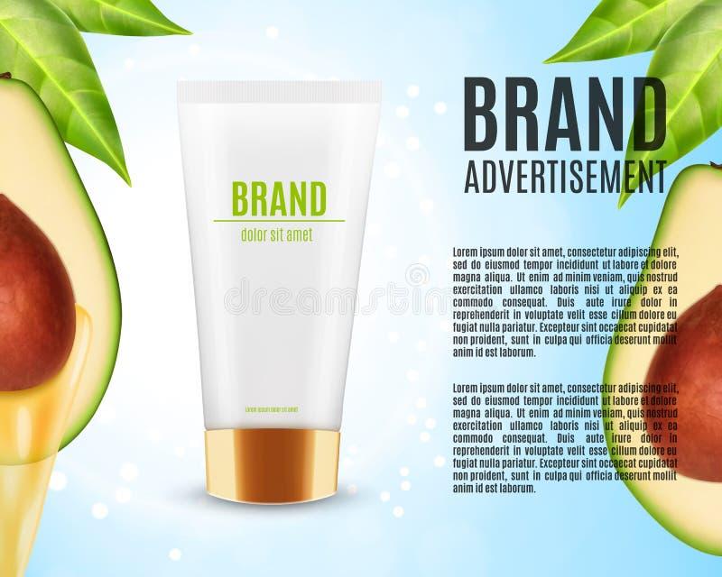 De olieadvertenties van de avocadomassage vector illustratie