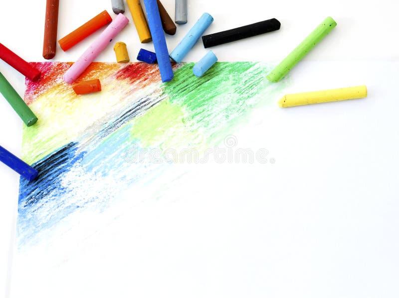 De oliepastelkleuren schetst kleurrijke kunst trekkend op Witboekbackgro stock foto's