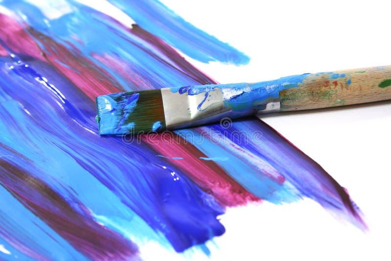 De olieverf en de borstel van de kleur stock afbeelding