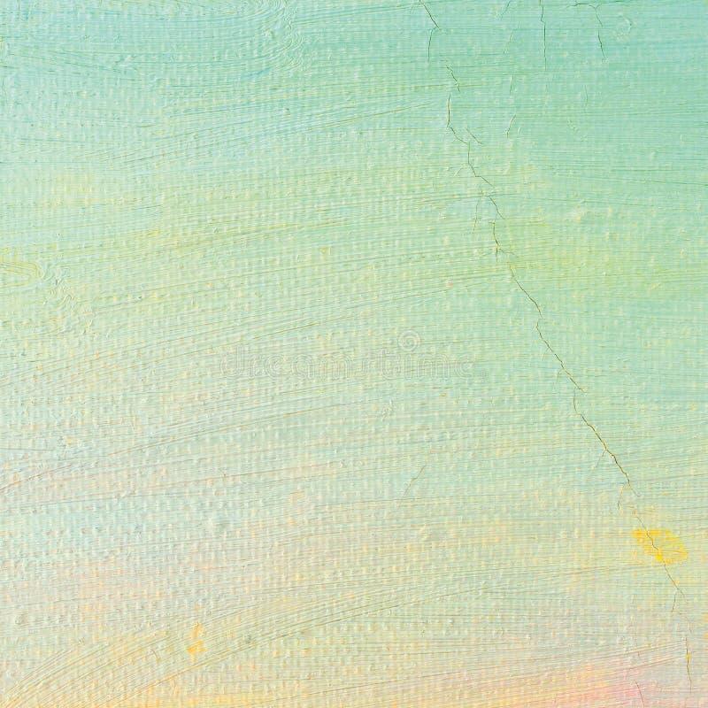 De olieverfachtergrond, heldere ultramarijn blauwe, gele, roze, turkooise, grote borstel strijkt het schilderen gedetailleerde ge stock foto