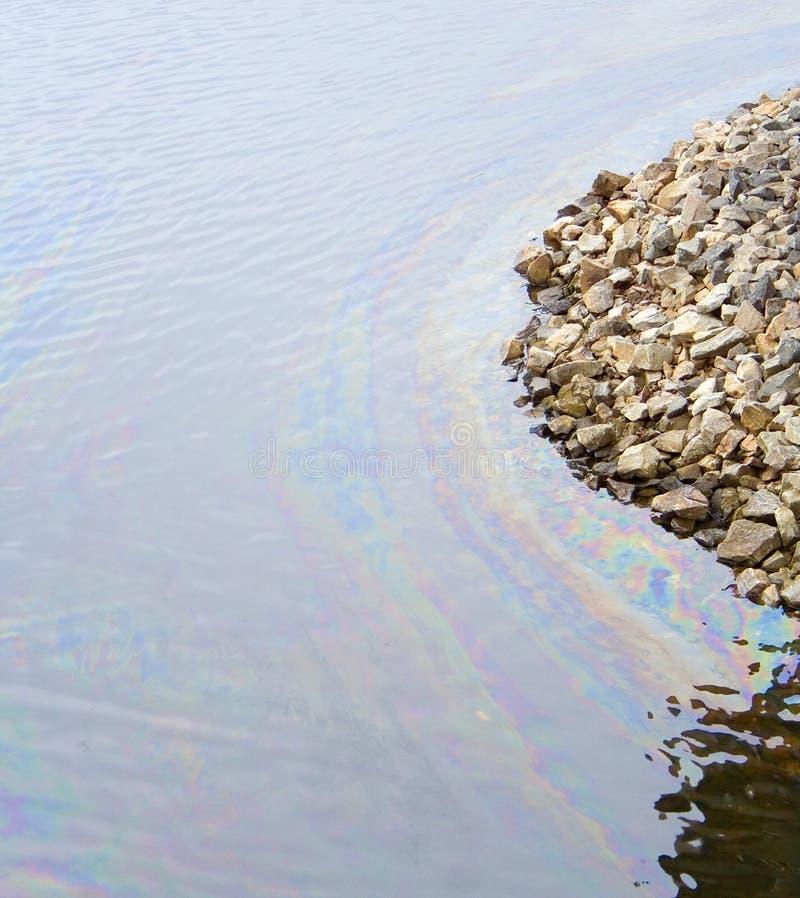 De oliewater van de verontreiniging stock fotografie