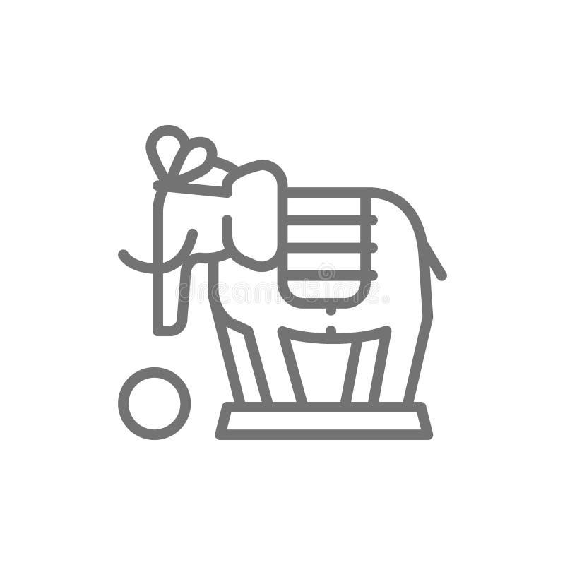 De olifant, circusdier toont lijnpictogram royalty-vrije illustratie