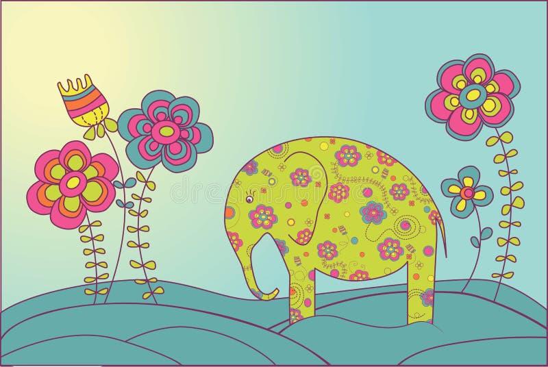 De olifant en de bloemen royalty-vrije illustratie