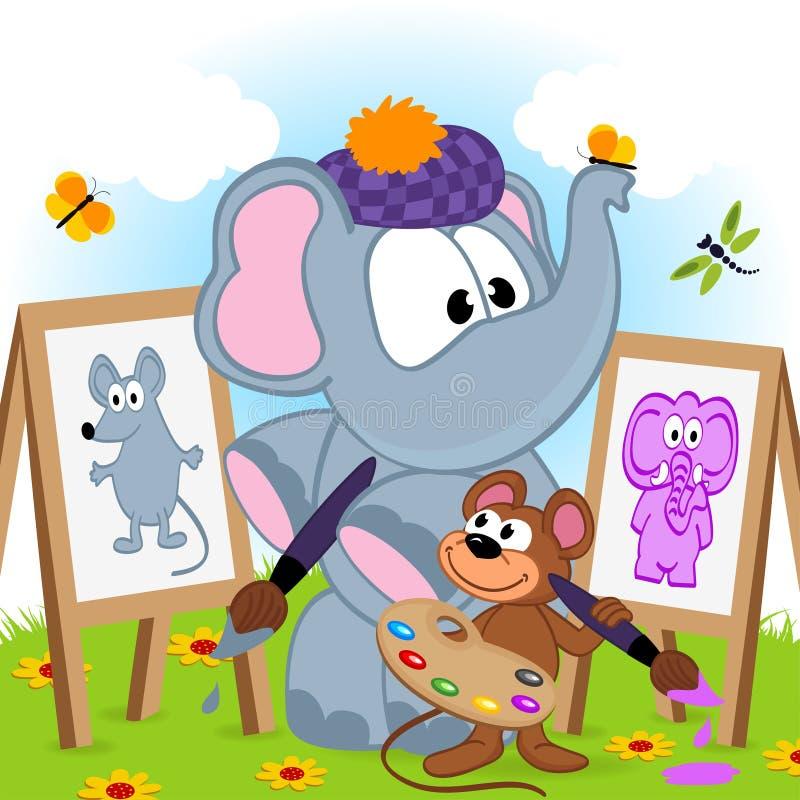 De olifant en de muis trekken portretten vector illustratie