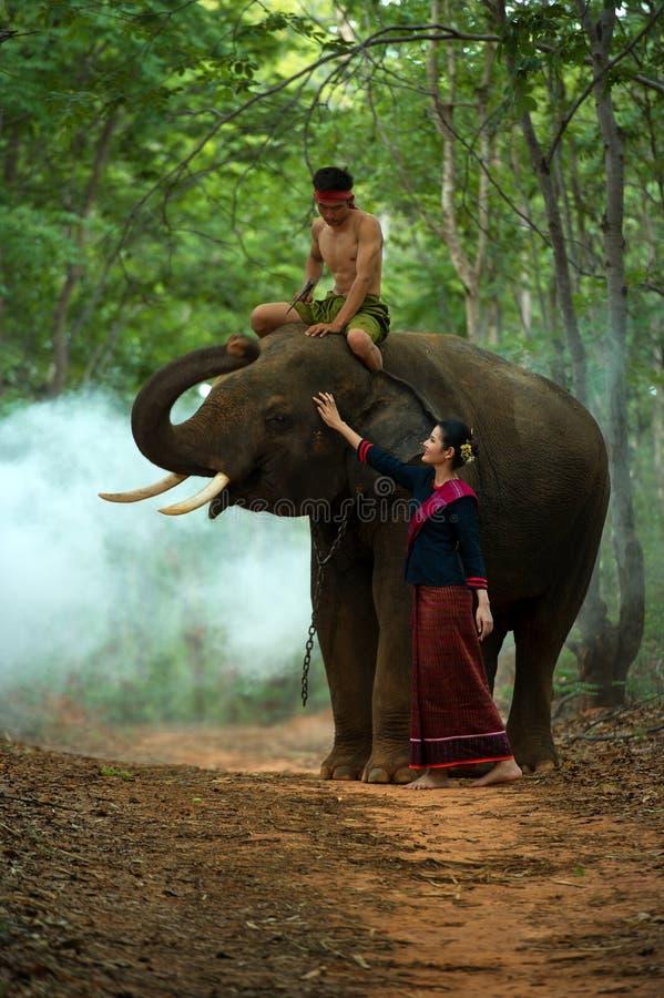 De olifant en mahout met vrouw stock foto