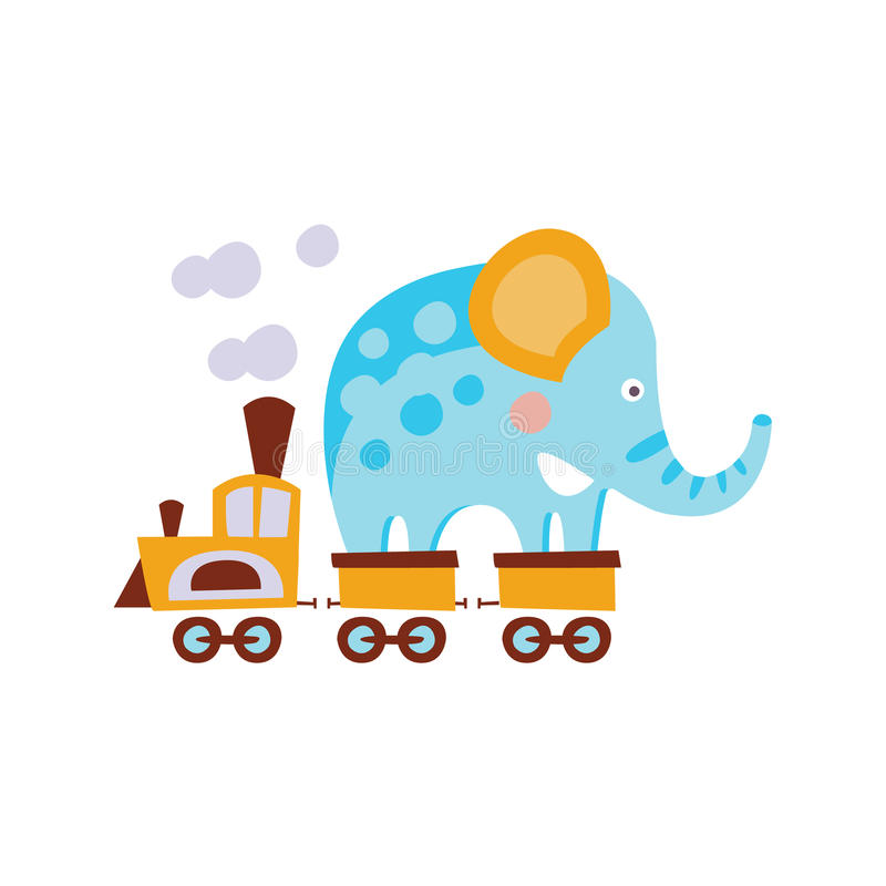 De olifant op Treinwagen stileerde Fantastische Illustratie stock illustratie