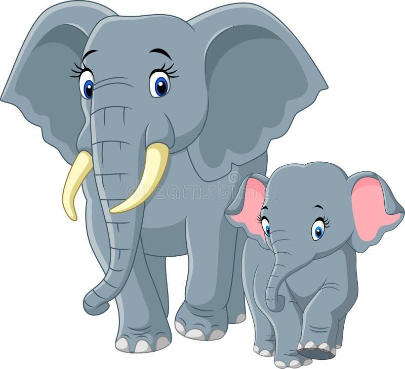 De olifant van de baby en van de moeder stock illustratie