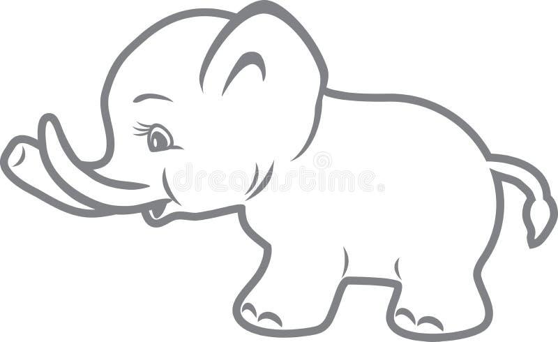 De olifant van de baby Overzichtstekening stock illustratie