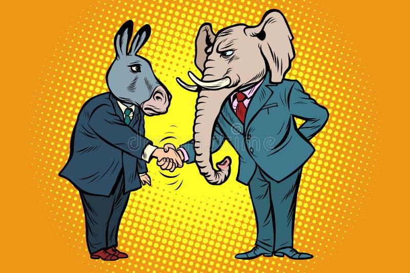 De olifantshand van ezelsschokken Democratenrepublikeinen royalty-vrije illustratie