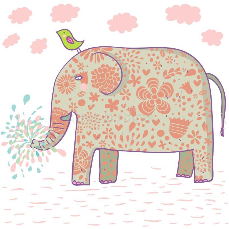 De olifantsontwerp van het beeldverhaal stock illustratie