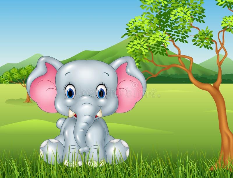 De olifantszitting van de beeldverhaal grappige baby in de wildernis royalty-vrije illustratie