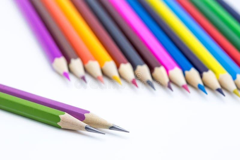 De olika blyertspennorna royaltyfri fotografi