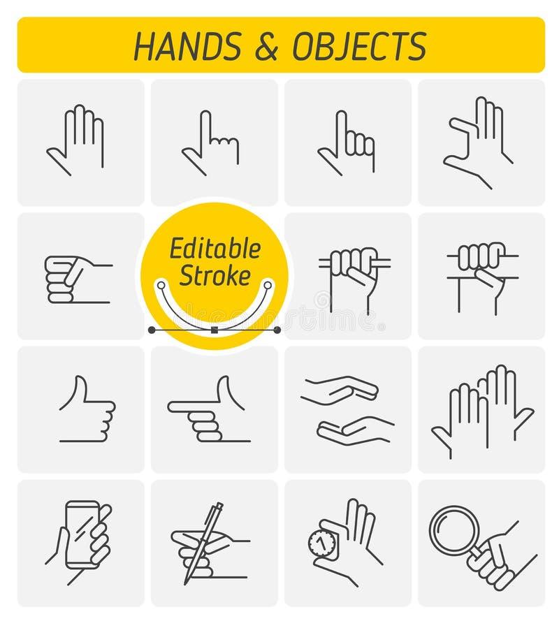 De olika gesterna av den mänskliga uppsättningen för symbol för handöversiktsvektor stock illustrationer