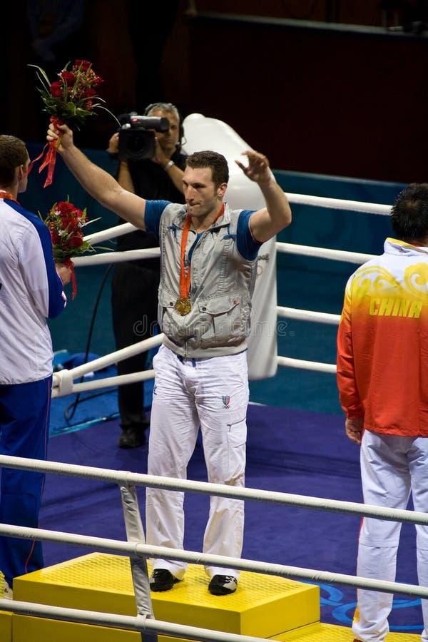 De olympische Bokser wint Goud stock foto's