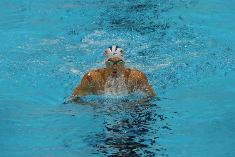 De olympische kampioen Michael Phelps van Verenigde Staten concurreert bij de individuele hutspot van Mensen 200m van Rio 2016 Ol stock foto's