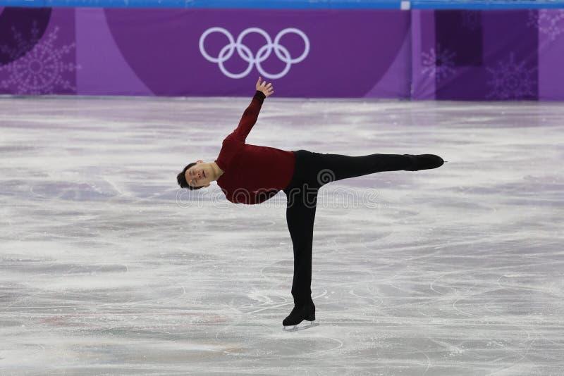 De olympische kampioen Patrick Chan van Canada voert in Team Event Men Single Skating het Vrije Schaatsen bij 2018 de Winterolymp royalty-vrije stock fotografie