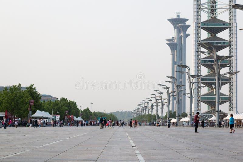 De Olympische Toren van de Parkobservatie maakt deel uit van Olympische Green in het Chaoyang-District van Peking royalty-vrije stock afbeelding