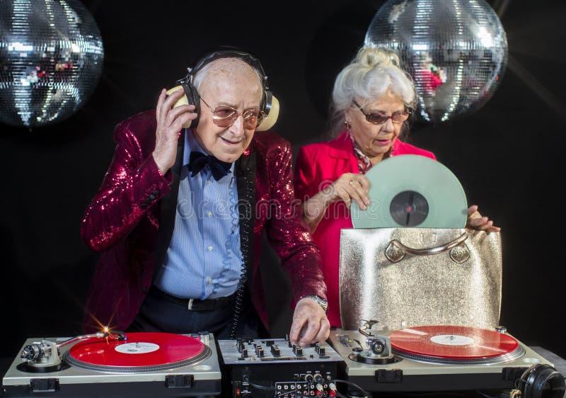 De oma en de opa van DJ stock fotografie