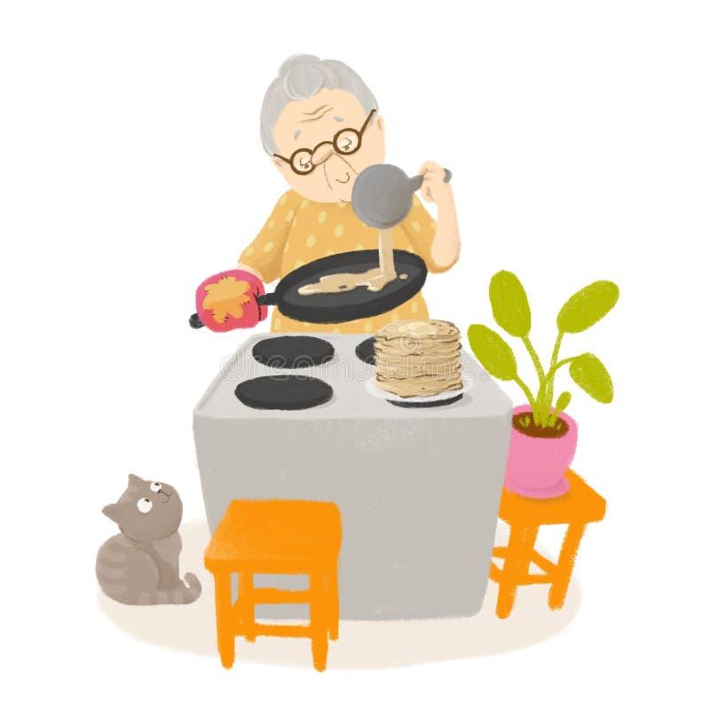 De oma kookt pannekoeken Leuke illustratie royalty-vrije illustratie