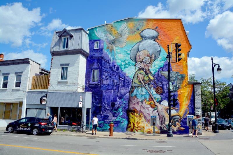 De oma van Montreal van de straatkunst stock foto's