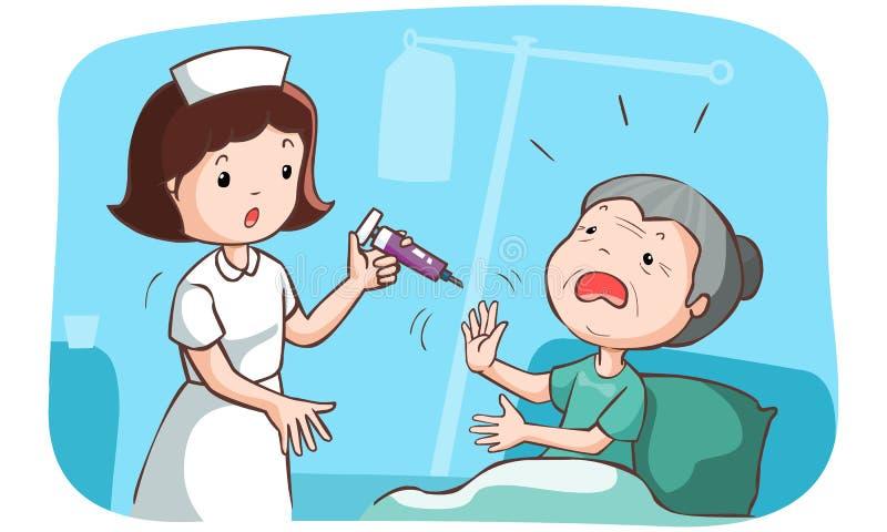 De oma wil niet ingeënt worden vector illustratie