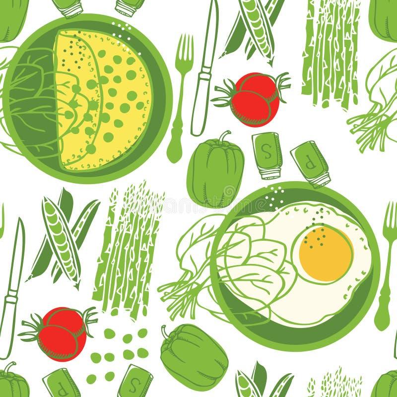 De Omelet van de voedselinzameling en verse groenten Naadloos patroon royalty-vrije illustratie