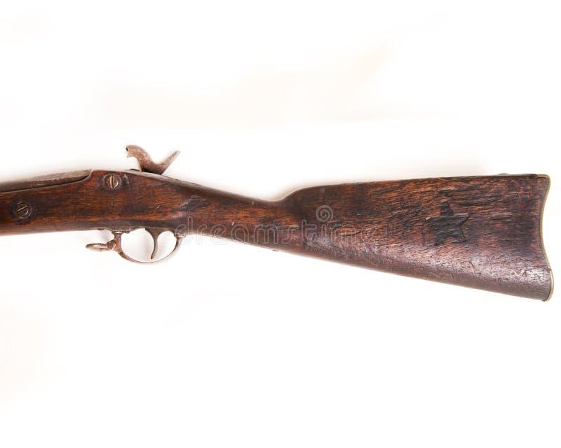De omgekeerde Partij van 1862 Verbonden Muskett vindt een andere Opgesmukte Ster in het Houten Uiteindeeind van het Kanon stock fotografie