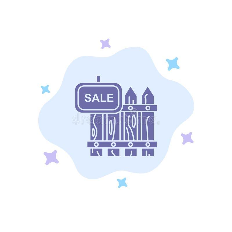De omheining, Hout, Makelaardij, Verkoop, Tuin, huisvest Blauw Pictogram op Abstracte Wolkenachtergrond royalty-vrije illustratie