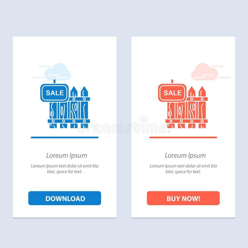 De omheining, Hout, Makelaardij, Verkoop, Tuin, huisvest Blauwe en Rode Download en koopt nu de Kaartmalplaatje van Webwidget vector illustratie
