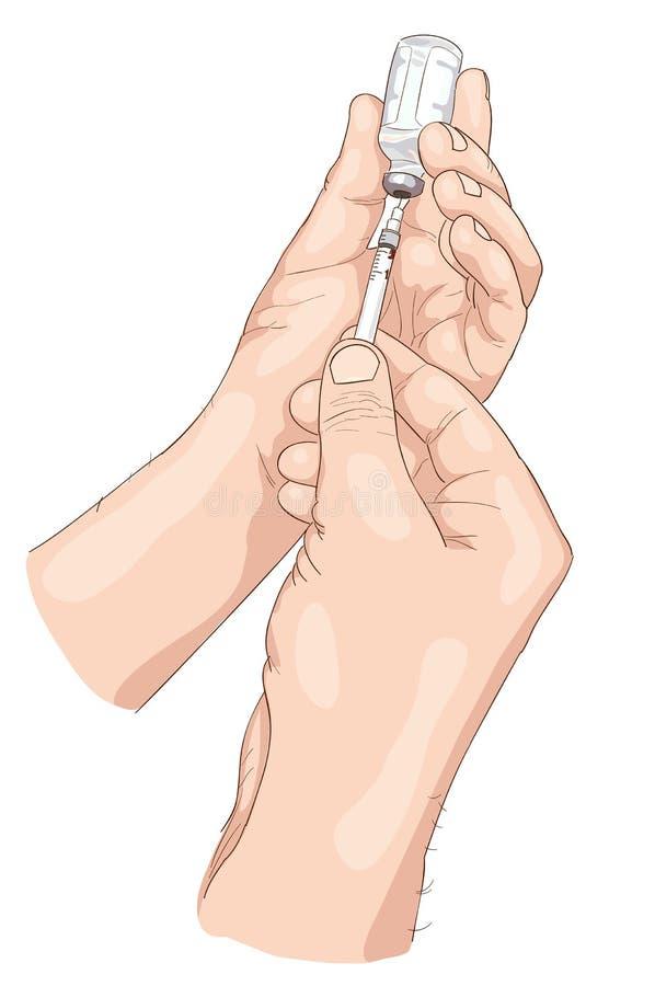 De omheining van de insuline van een ampul in spuit. royalty-vrije illustratie