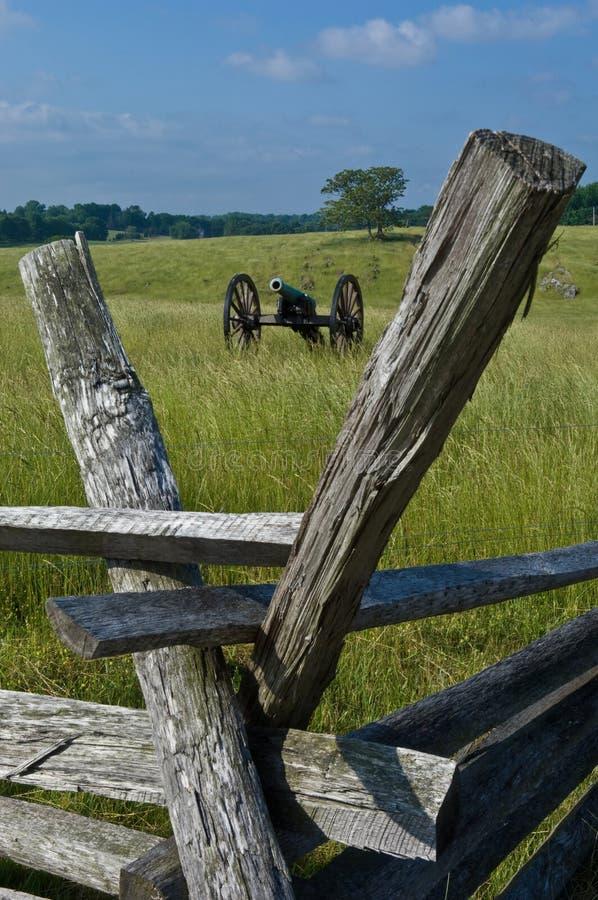 De Omheining van het kanon en van het Slagveld stock foto