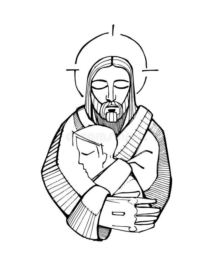 De omhelzing van Jesus vector illustratie