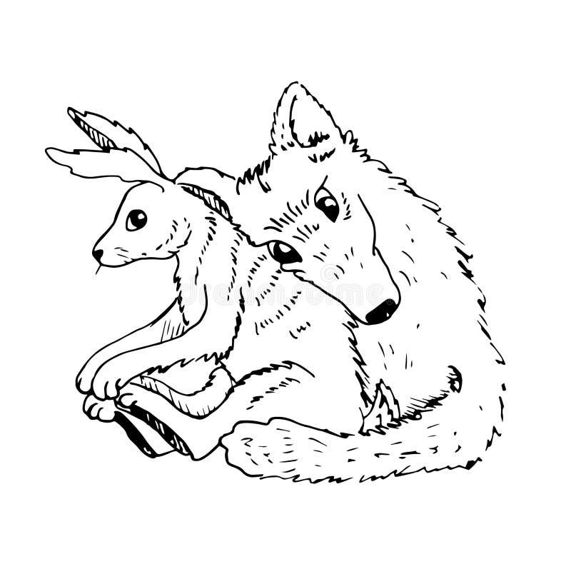 De omhelzingen van de het paarwolf van de beeldverhaalvalentijnskaart met een haas royalty-vrije illustratie