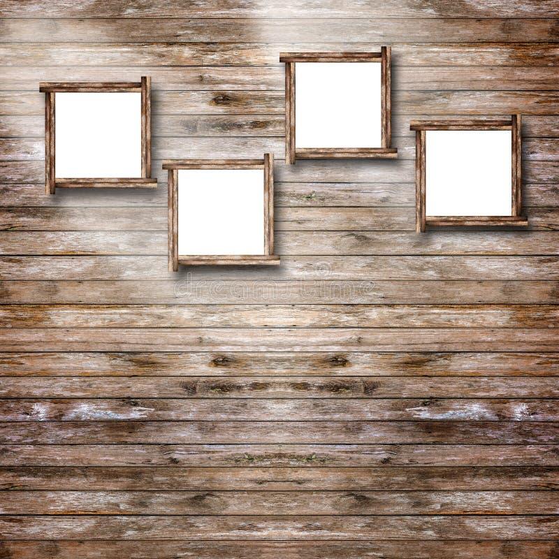 De omlijsting hangt op uitstekende houten muur stock afbeelding