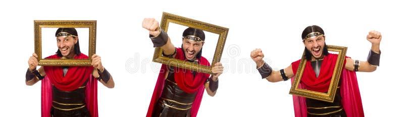 De omlijsting van de gladiatorholding op wit wordt geïsoleerd dat royalty-vrije stock afbeeldingen