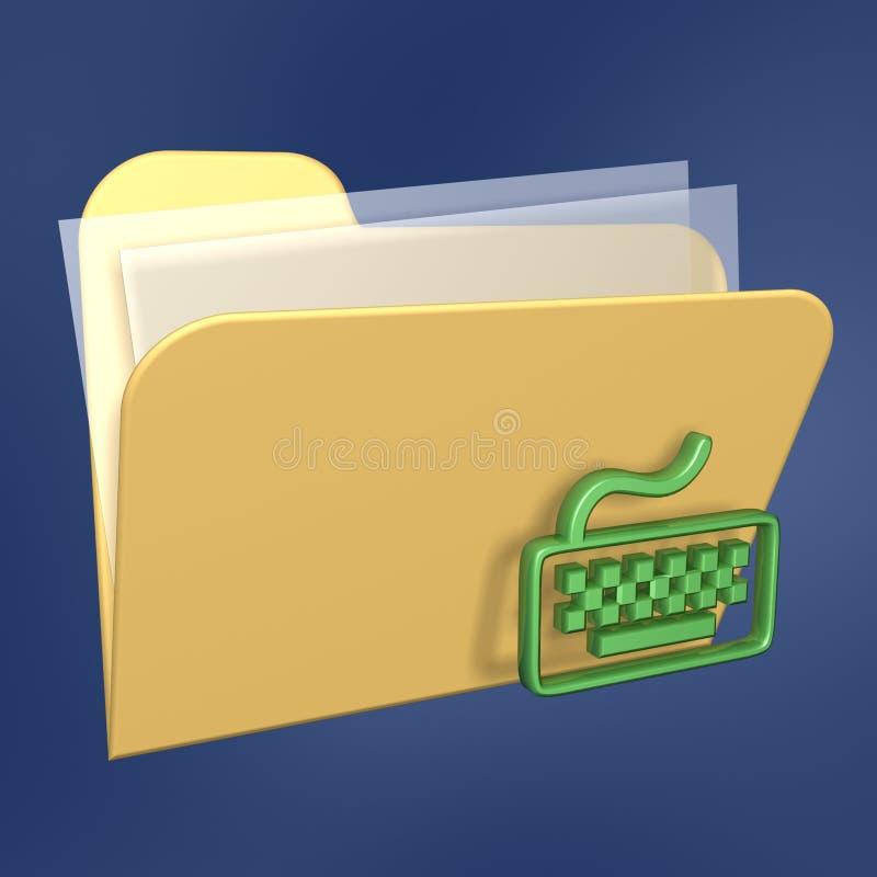 De omslag en het toetsenbord van dossiers stock illustratie