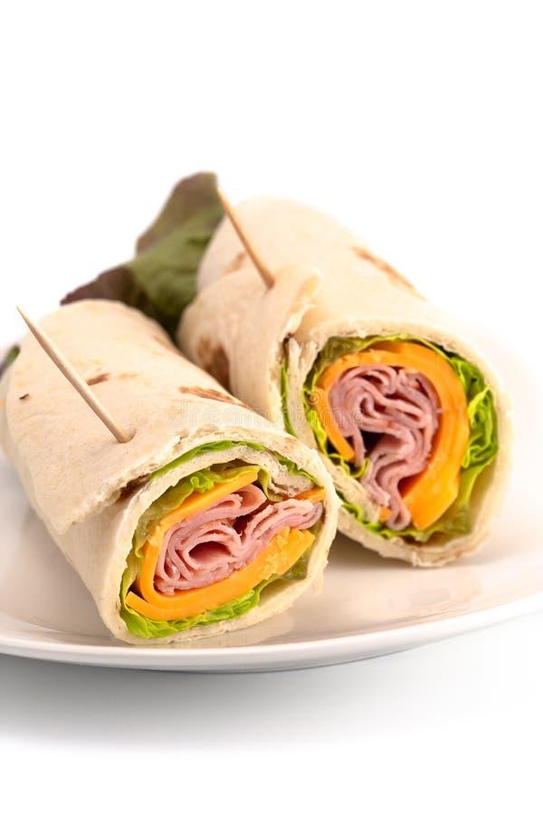De Omslag van Ham Cheese en van de Sla een Perfecte Lichte en Gezonde Lunch royalty-vrije stock afbeeldingen