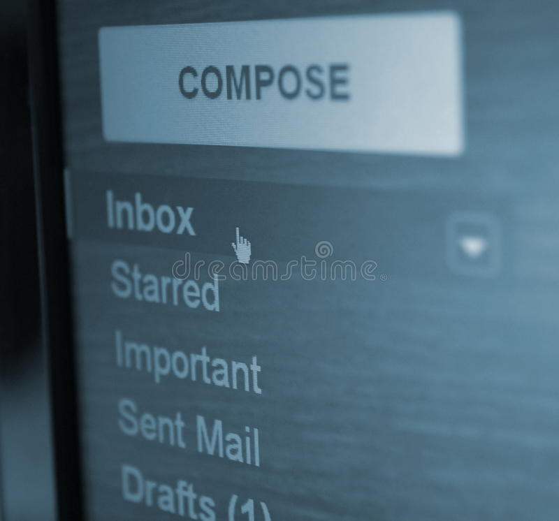De omslag van Inbox stock fotografie