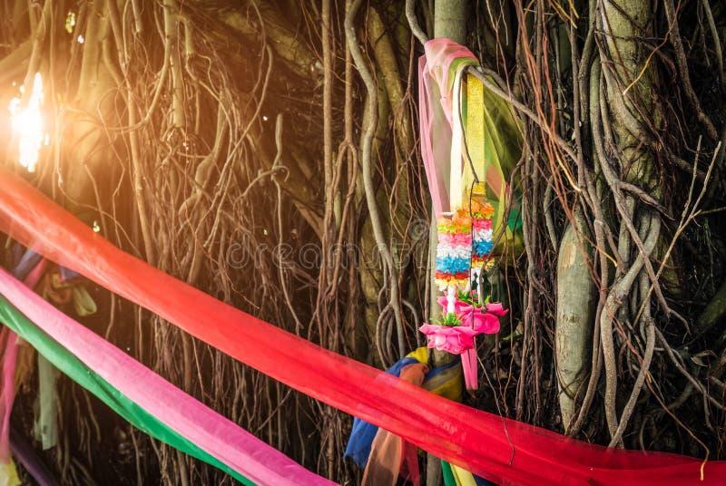 De omslag van de vijf kleurenstof rond de boom en slinger op ademhalingswortel van banyan boom met gloedlicht Het geloof van Thai royalty-vrije stock foto's