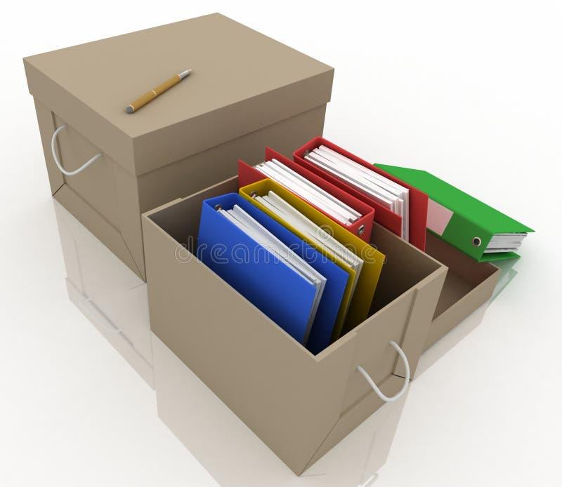 De omslagen van het bureau in doos stock illustratie
