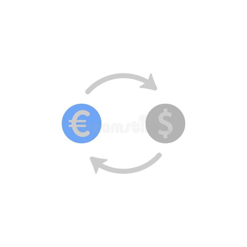 De omzetting, uitwisseling, munt, geld, wisselt twee kleuren blauw en grijs pictogram uit vector illustratie