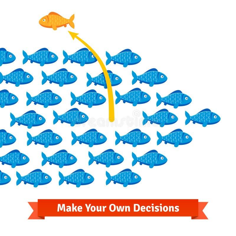 De onafhankelijke vissen breken vrij van zijn ondiepte royalty-vrije illustratie