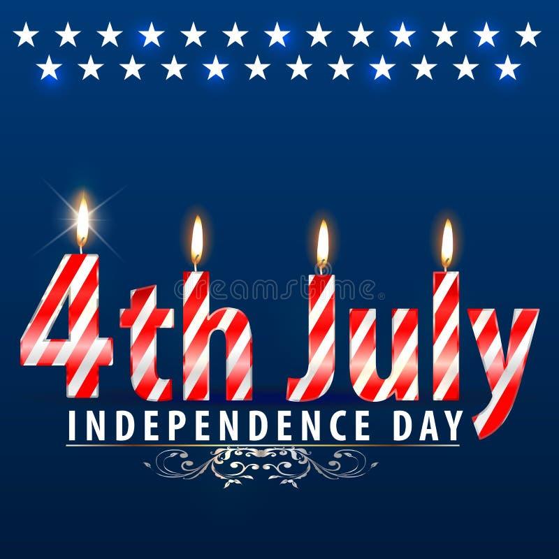De Onafhankelijkheidsdag van de V.S., vierde van Juli, Vierde van Juli (vectorkunst) vector illustratie