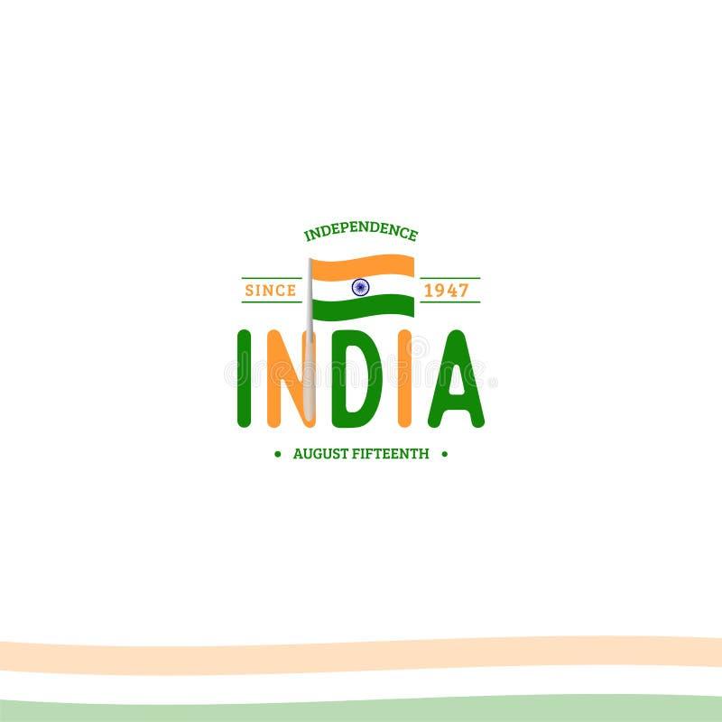 De onafhankelijkheidsdag van India van het Britse Imperium isoleert teken van vector retro stijl logotype Algemeen begrip van Emb royalty-vrije illustratie