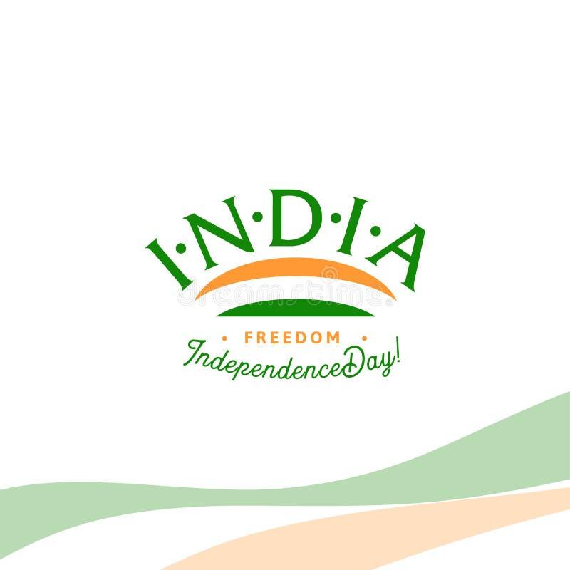 De onafhankelijkheidsdag van India van het Britse Imperium isoleert teken van vector retro stijl logotype Algemeen begrip van Emb vector illustratie