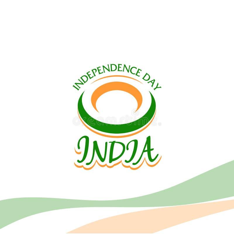De onafhankelijkheidsdag van India van het Britse Imperium isoleert teken van vector retro stijl logotype Algemeen begrip van Emb stock illustratie