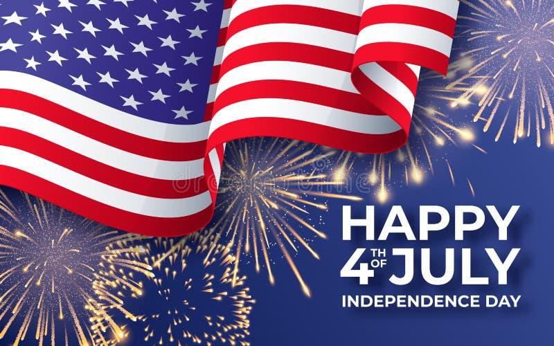 De Onafhankelijkheidsdag van de V Banner met golvend Amerikaans nationaal vlag en vuurwerk vierde van Juli-affichemalplaatje vector illustratie