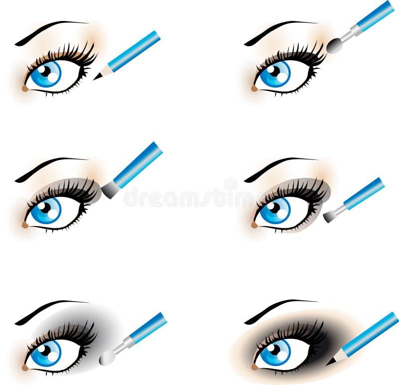De onberispelijke pictogrammen van de Make-up van het Oog. Zwarte Rokerige Schaduw. stock illustratie