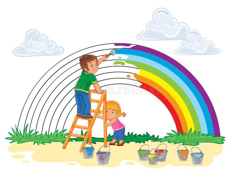 De onbezorgde jonge kinderen schilderen een regenboog van kleuren stock illustratie