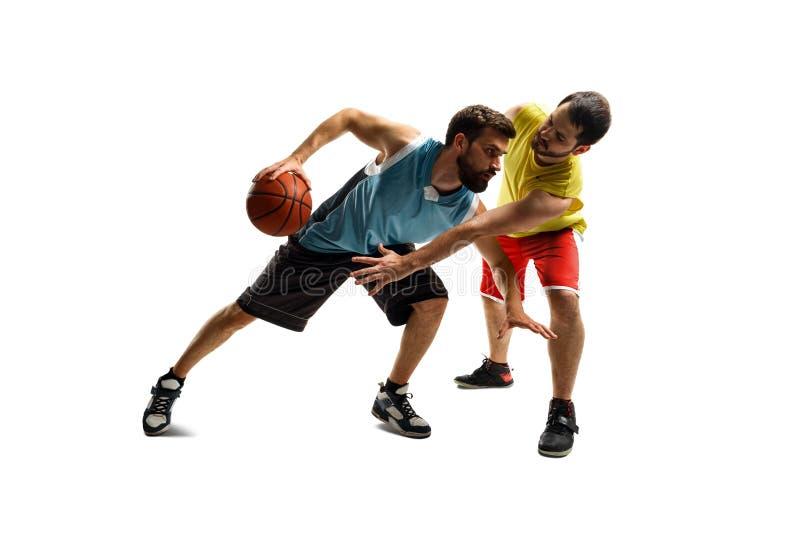 De onderbrekingen van de basketbalspeler door blok stock afbeelding